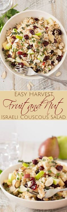 Harvest Israeli Couscous Salad   Israeli couscous is mixed with harvest fruits, almonds and herbs, then tossed with a flavorful maple mustard vinaigrette. Healthy and delicious!   http://thechunkychef.com