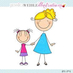 Mom & Daughter Stick Figure Clipart - JW Illustrations
