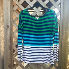 Boatneck Striped Top Striped top with button detail on shoulders. Old Navy Tops Tees - Long Sleeve