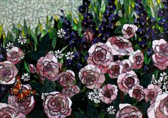 "Rose Garden Glass Mosaic Art 26"" x 34"" pink roses, blue delphiniums and a monarch butterfly"