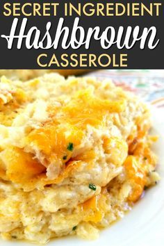 Secret Ingredient Hashbrown Casserole - Food Inspiration Healthy A creamy, cheesy hashbrown casserole recipe made with French onion dip instead of sour cream that's even better than Cracker Barrel's! Hashbrown Casserole Recipe, Hash Brown Casserole, Cracker Barrel Hashbrown Casserole, Cheesy Hashbrown Potatoes, Crockpot Cheesy Hashbrowns, Hashbrown Breakfast Casserole, Cracker Barrel Squash Casserole Recipe, Crock Pot Cheesy Potatoes, Onion Casserole