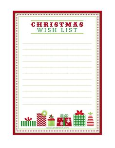 Christmas Wish List Printable  Christmas list printable Free