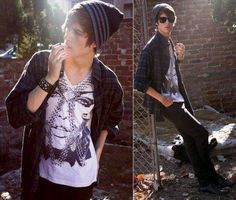 alternative boy with hat, hipster outfit