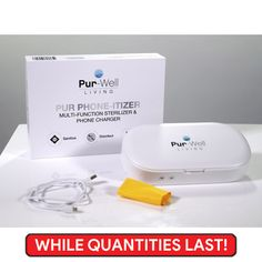 Phone Sanitizer - Sanitize, disinfect and charge your phone! Pur Phon-itizer  – Phone Sanitizer – Sanitize, disinfect and charge your phone! Features include:   Dual UV lamp – Disinfects up to 99.99% of bacteria  Rapid – Complete clean in under 5-minutes  Wireless Qi phone charger – with compatible Qi charging devices  Wired phone charging – with a cord for older or non-Qi capable phones Living Oils, Phone Charger, Ultra Violet, Phones, Things To Think About, Cord, Essential Oils, Smartphone, Cleaning