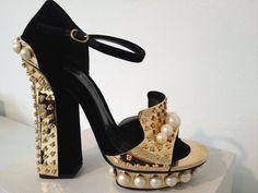 Alexander McQueen Reflective gold hardware heel and bejeweled toe