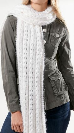 Free Knitting Pattern for 4 Row Repeat Angel Hair Super Scarf - This scarf is knit in a 4 row repeat lace. Designed byJo-Ann Fabric and Craft Stores