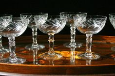 vintage champagne glasses eight coupe champagne by cristinasroom, on Etsy.