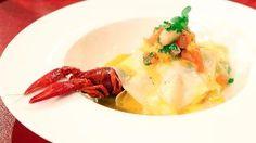 Offene Lasagne mit Flusskrebsen