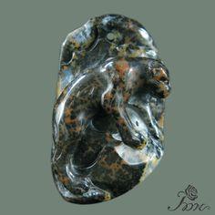 Hand-carved Leopard Petrified Wood Opal Pendant Bead #PDN #Pendant