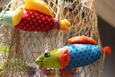 Kunterbunte Fische nähen, mit der Anleitung auf dem Blog von smilla Berlin. Ist auch was für Nähanfänger.