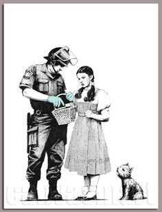 Dorothy And Toto Police Search Banksy Graffiti Underground