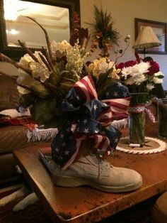 Military Centerpiece made by my sister. She is so talented! (:Tap The LINK NOW:) We provide the best essential unique equipment and gear for active duty American patriotic military branches, well strategic selected.We love tactical American gear Military Retirement Parties, Military Party, Retirement Gifts, Retirement Ideas, Church Altar Decorations, Patriotic Decorations, Homecoming Decorations, Military Crafts, Army Crafts