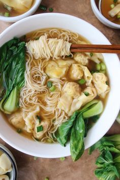 How to choose between eating wontons or noodles: dont. Wonton noodle soup is under the recipes tab. I Love Food, Good Food, Yummy Food, Tasty, Wonton Noodle Soup, Recipes With Wonton Noodles, Wonton Soup Recipes, Chinese Noodle Recipes, Noodle Soups
