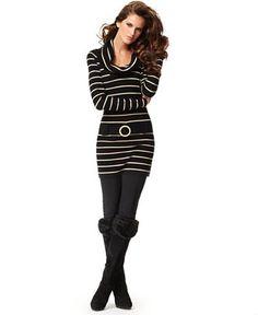 striped sweater dress, leggings & boots