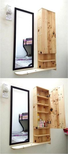 Here is a great idea for those who have less area for placing the storage items; the person can make an upcycled wood pallet mirror side shelving cabinet as it can be attached to the wall and doesn't occupy the area on the floor. It can be created for the bathroom or for the bedroom as well.