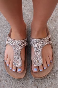 Jeweled Beige T-Strap Sandals | UOIOnline.com: Women's Clothing Boutique