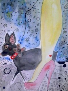 ChiChi - The Darling Chihuahua!  9 x 12 Art Print - Heart Tattoo - Woman Walking Dog - Cute! Heels - Glamour - Fashion on Etsy, $9.50