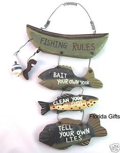 Wood Fishing Rules Sign - Fish Boat Nautical Decor New