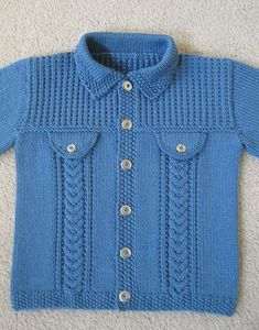 Denim-style Jacket pattern by Sirdar Spinning Ltd - Knitting patterns, knitting designs, knitting for beginners. Kids Knitting Patterns, Baby Cardigan Knitting Pattern, Knitting For Kids, Knitting Designs, Crochet Pattern, Pull Bebe, Knit Baby Sweaters, Baby Coat, Jacket Pattern