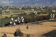 Windmills in Lassithi, Crète Island, Greece