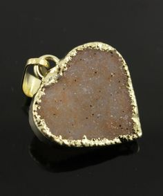 Dazzling Druzy Heart Pendant in Earth Tones, Single Bail Gold Electroplated Edge, 20x19mm, A+ Gorgeous Quality,  (DZY/PDT/113) by Beadspoint on Etsy