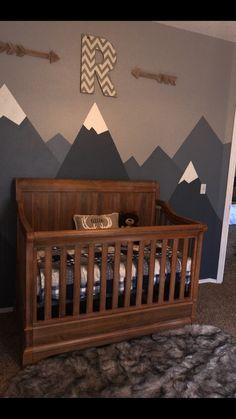 Baby boy rustic mountain woodland theme