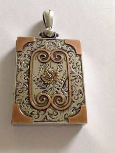 Beautiful Fine Antique Victorian Sterling Silver & Gold Rectangular Locket