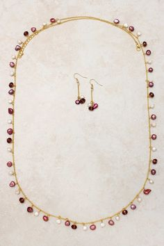 Raspberry Pearl Necklace Set on Emma Stine Limited