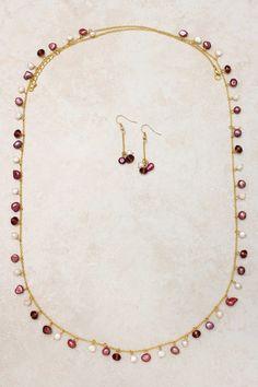 Raspberry Pearl Necklace Set on Emma Stine Limited