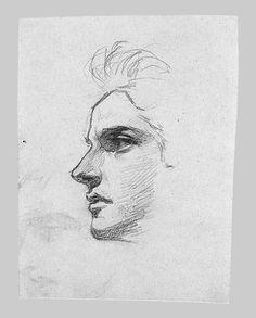 """Rosto""(2) - Esboço a lápis de John Singer Sargent"