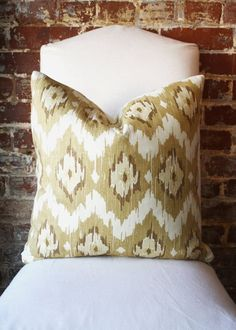 Flame Stitch - Duralee - Tan -  Pillow Cover - 20 in square - Designer Pillow - Decorative Pillow - Throw Pillow. $52.00, via Etsy.