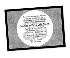 rustic 25th wedding anniversary announcements | 25th Anniversary Invitation - Silver Wedding Anniversary Party Invite ...