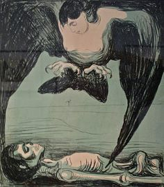 "Edvard Munch, Harpy, lithograph - In Greek mythology, a harpy was one of the winged spirits best known for constantly stealing all food from Phineus. The literal meaning of the word seems to be ""that which snatches"""