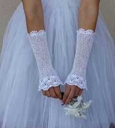 BEAUTÉ longue Crochet dentelle mariée mitaines en par elfinhouse
