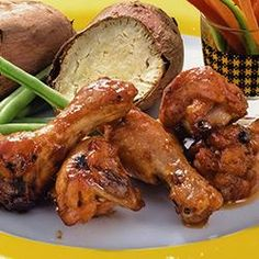 Honey BBQ-Marinated Chicken Drumsticks - ketchup, honey, soy sauce, hot chili sauce, oil and lemon juice.
