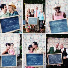 Photobooth guest book when they walk in! smart idea so not to leave anyone out! I like the idea of a back drop too!