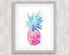 Watercolor Pineapple: Instant Download 8x10 Digital Print. Watercolour Ananas Fruit Print Illustration. Tropical Tumblr Art. Pink, Green #P7 by AtHomeWithLUNE on Etsy https://www.etsy.com/listing/232656767/watercolor-pineapple-instant-download