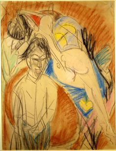 Man and Naked Woman - Ernst Ludwig Kirchner. Artist: Ernst Ludwig Kirchner