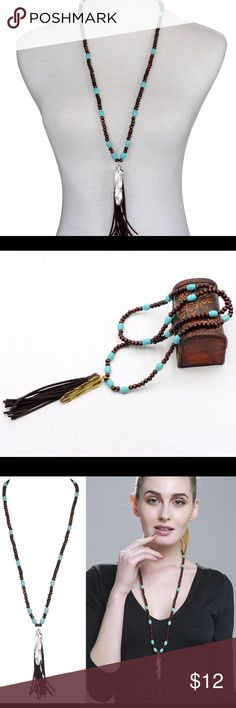 Beautiful Tassel Necklace with Silver Feather Long wooden beaded chain pendant necklace silver boho tassel necklace for women Jewelry Necklaces