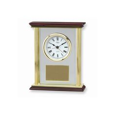Premiere Four Pillar Gold-tone Piano Clock - Engravable Personalized Gift Item