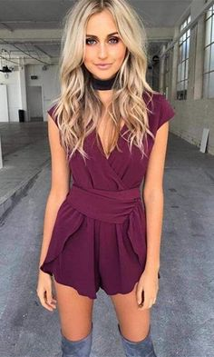 Best Of You Burgundy Wine Short Sleeve Cross Wrap V Neck Pleated Asymmetric Waist Tulip Romper Playsuit