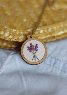 This tiny lavender embroidery hoop necklaces is perfect for the gardener in your…