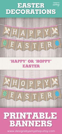 Happy Easter Banner, Printable Easter Banner, Hoppy Easter Banner, Easter Decorations, Easter Printables #etsyshop #etsydigital #easter #eastercrafts #easterbunny #eastereggs #easterprintables