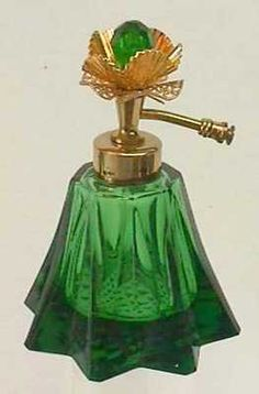 Decorative Glass/crystal Antique Moser Cased Green Perfume Bottle W Enamel Decoration & Cutting Glass