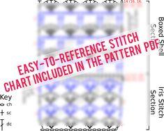 boxed shell stitch chart pattern and iris crochet stitch chart