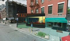 Classic paintings of world cities meet Google Street View – in pictures.  New York - nighthawks 1942 hopper 01