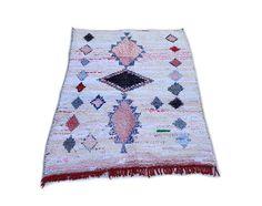 "83""X53"" Moroccan rug handwoven from scraps of fabric / boucherouite / boucherouette / kilim rug / beni ourain / moroccan wedding blanket"
