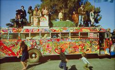 "Merry Pranksters Tour America in their colorful ""Further"" School Bus (14 June 1964 - August 1964)."