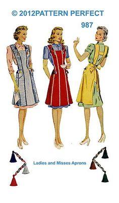1940s Vintage Unique Stunning Full Bib Apron Fabric Material Sewing Pattern 987 | eBay