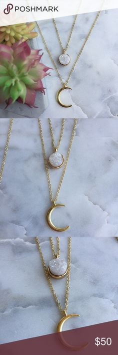 """□Layered Druzy Moon Necklace □Layered Druzy Moon Necklace □Layered two in one necklaces featuring 18k gold plated moons, white druzy cut quartz  □ druzy pendants are on 15"""" 18k gold plated chains & moons are on 18"""" 18k gold plated chains    △ handmade in El Paso, TX △ Simple Sanctuary Jewelry Necklaces"""